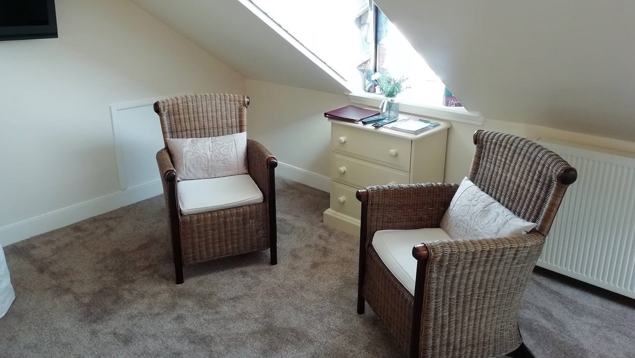 Photograph of Room 8 seating area with guest information booklets