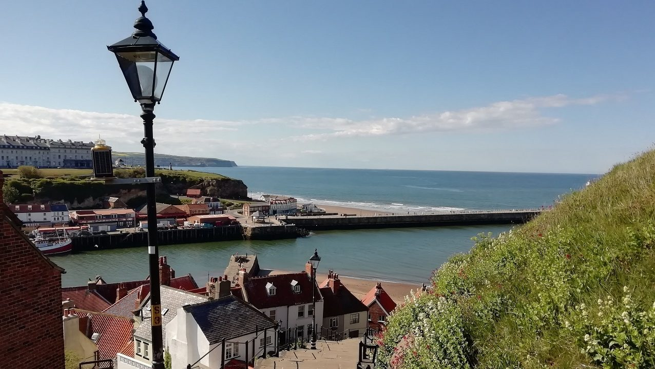 Photograph from the 199 Steps in Whitby down to the harbour